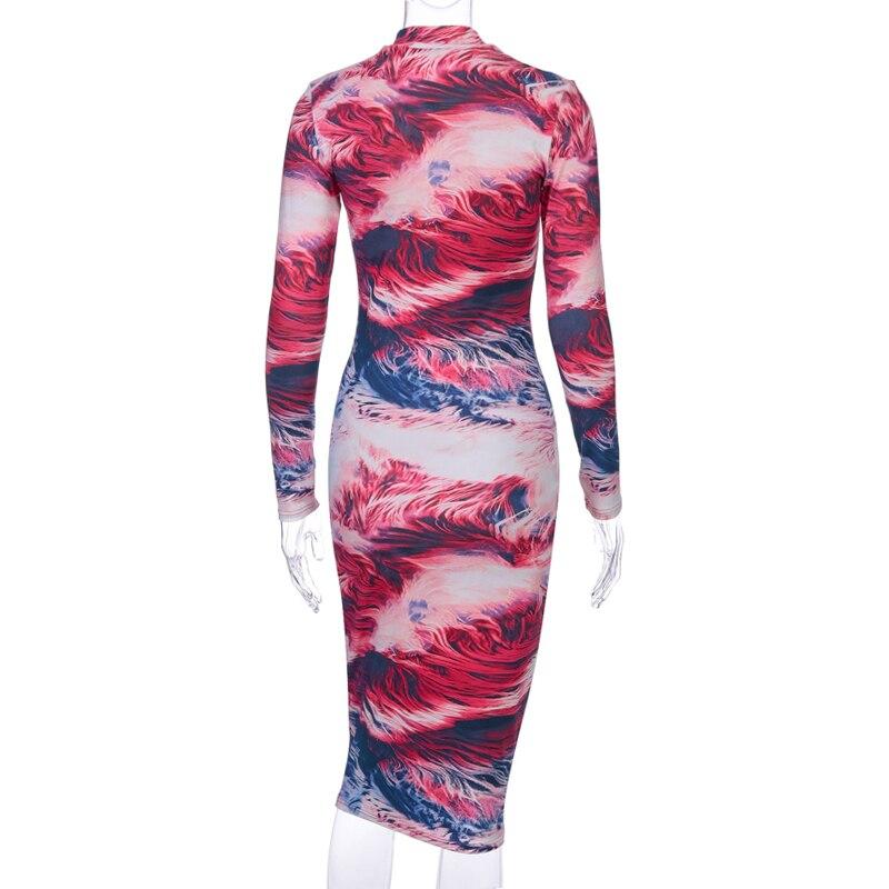 Βαμβακερό μακρυμάνικο πολύχρωμο σέξι midi φόρεμα msow