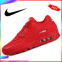 Original Authentic 2019 New Arrival NIKE AIR MAX 90 ESSENTIAL Women's Running Shoes Sneakers Red Breathable Good Quality AJ1285