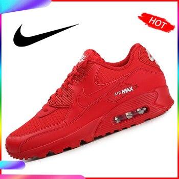 Original auténtico 2019 nueva llegada NIKE AIR MAX 90 zapatos de correr esenciales para mujer Zapatillas de deporte rojo transpirable de buena calidad
