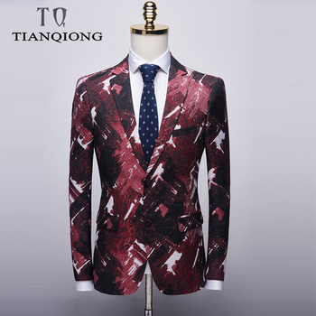 TIAN QIONG Floral Blazer Men 2019 New Autumn Slim Fit Mens Casual Blazer Brand 3XL 4XL Colorful Stage Clothing Prom Blazers