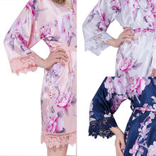 Plus Size Women Silk Satin Floral Lace Trim Robe Wedding Bridal Bridesmaid Robes Robes for Women Sleepwear Night Long Robe
