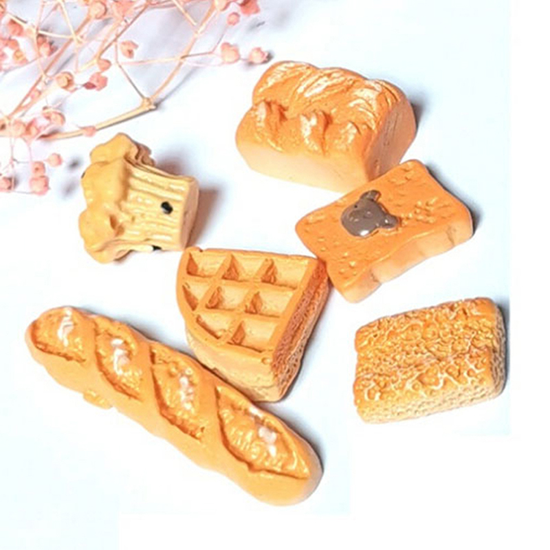6Pcs/set 1:12 Bakery Bread Kitchen Food Items Miniature Vintage Accessories For Dollhouse Mini Artificial Bread