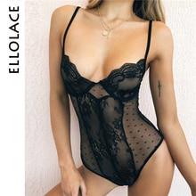 Ellolace Mesh Bodysuit Women Polka Dot Transparent Lace Body Sleeveless Female Slim Rompers Black Deep-V Sexy Bodycon Overalls
