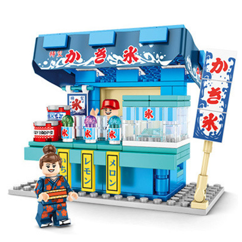 New sale LegoINGlys City Live Sence Retail Shop Japan Food Octopus Sushi Store Street Building Blocks collection diy Toys Gifts image