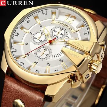Relojes deportivos de lujo de marca CURREN para hombre, reloj de pulsera de cuarzo de diseño moderno, reloj de pulsera de cuero auténtico para hombre