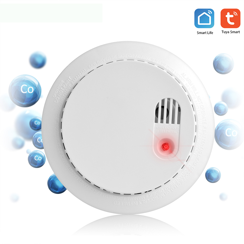 Wifi CO/Smoke Detector Home Security Wifi Carbon Monoxide Detector Alarm System Support APP Tuya Smart Life Battery-Powered