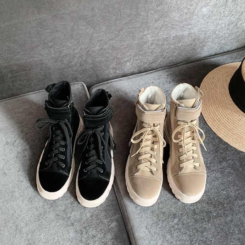 EGONERY serin kadın patik punk yuvarlak ayak dantel-up kadın ayakkabısı kış kayısı 4cm orta topuklu yarım çizmeler 33- 46 artı boyutu çizmeler