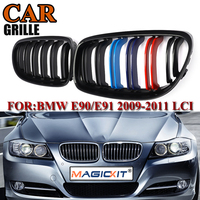 MagicKit Grill For BMW E90 E91 3 Series 2009 2010 2011 Gloss Black M Color 2 Line Front Kidney Grille Grill Double Slat 1 Pair
