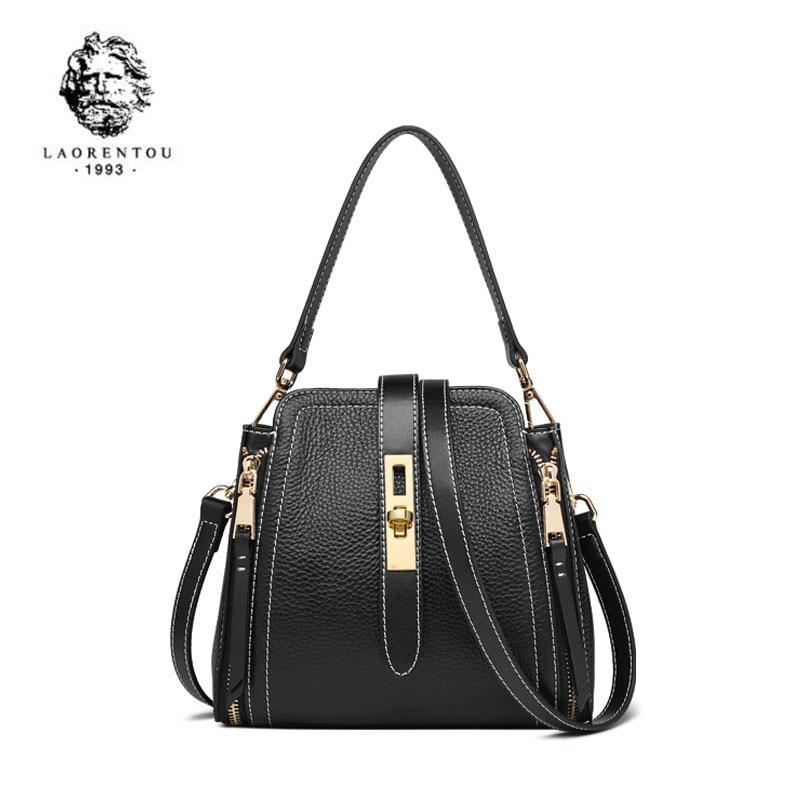 LAORENTOU  Women Genuine Leather bag  2020 new Korean fashion handbag Casual Shoulder Bag Bucket bag 1