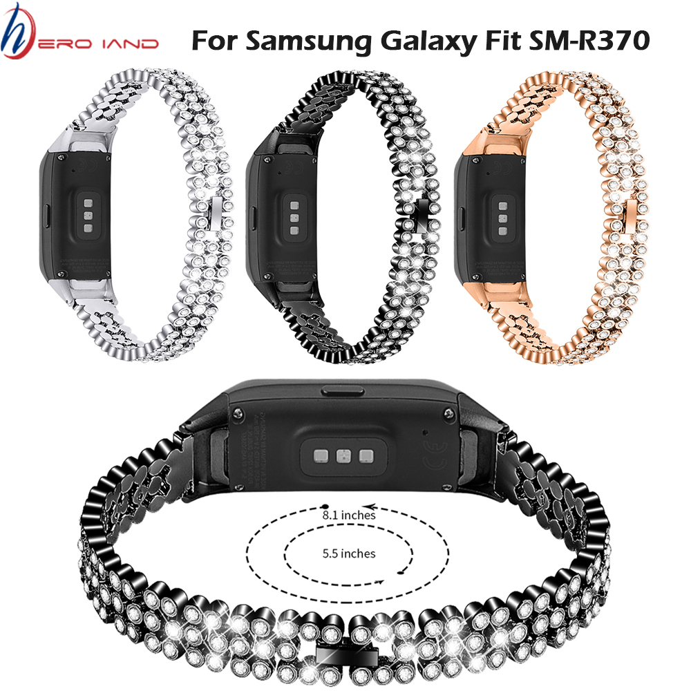 Replacement Stainless Steel Wristband Rhinestone For Samsung Galaxy Fit Sm-R370 Watch Strap For Watches Bracelet Watch Band