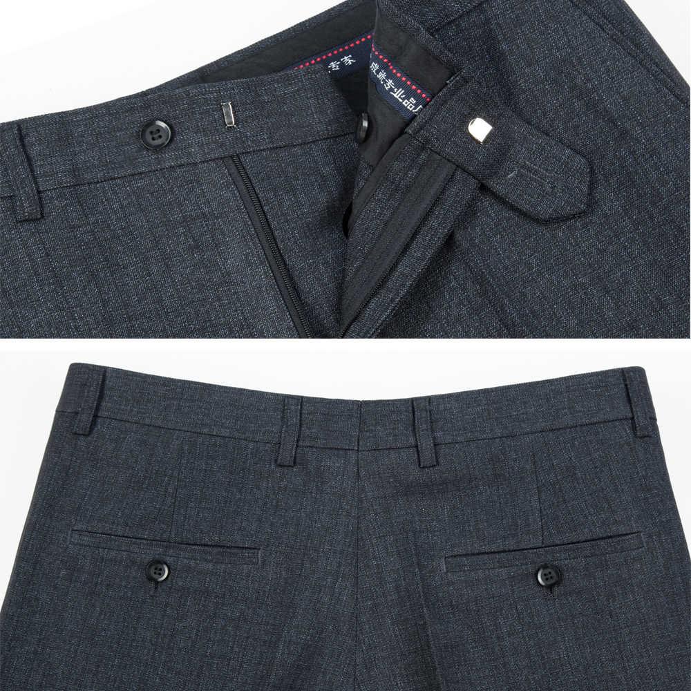 Mu yuan yang 50% Off męskie spodnie z jedwabiu 40 42 44 Business Casual długie spodnie w średnim wieku dla mężczyzn proste spodnie robocze