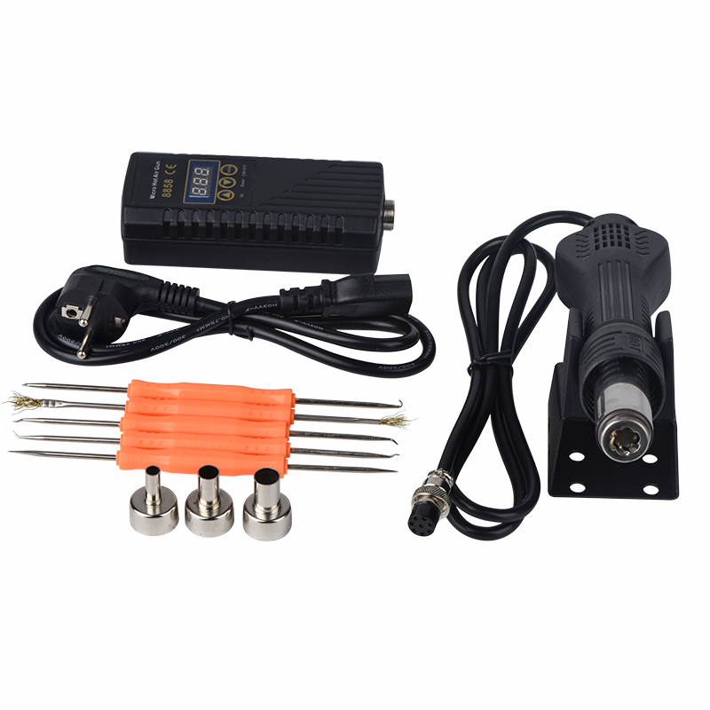 JCD hot air gun 220V 110V Heat Gun Rework soldering station 8858 650W Hot Air Blower Ceramic Heater nozzle