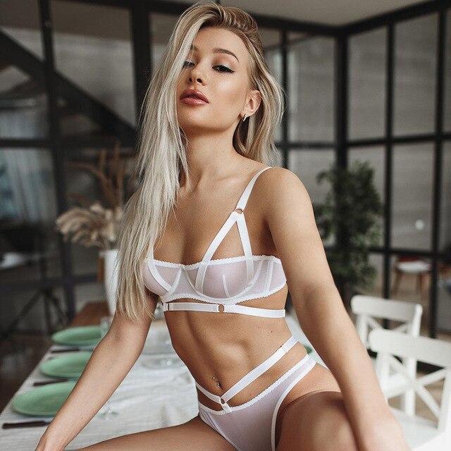 Dessous Sexy Frauen Unterwäsche Set Goth Dessous Bh und Panty Set Transparent Erotische Dessous Bügel-bh Set 5