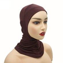 2020 yumuşak modal iç başörtüsü kapaklar müslüman streç türban kap İslam tam Underscarf Bonnet şapka kadın kafa tüp başlığı turbante
