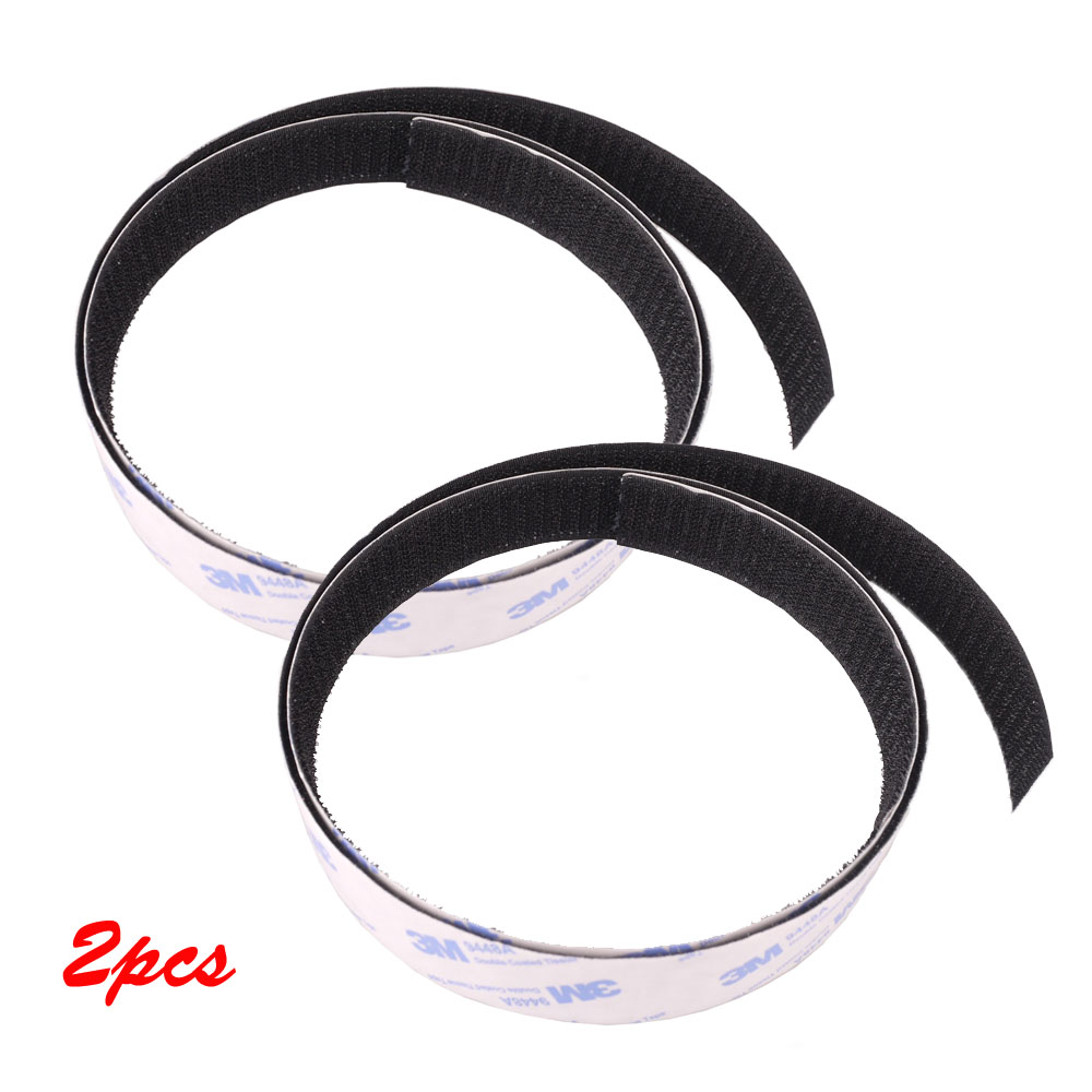 2Pcs Guitar Male Pedal Board Magic Tape 100*2.5cm Mounting Pedalboard Strap Hook Black For Guitar Effect Pedal Parts Accessories
