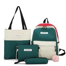 Mochila escolar 4 conjuntos, para meninas adolescentes estudantes bolsa escolar grande capacidade cores mistas de lona bolsa casual bolsa de ombro
