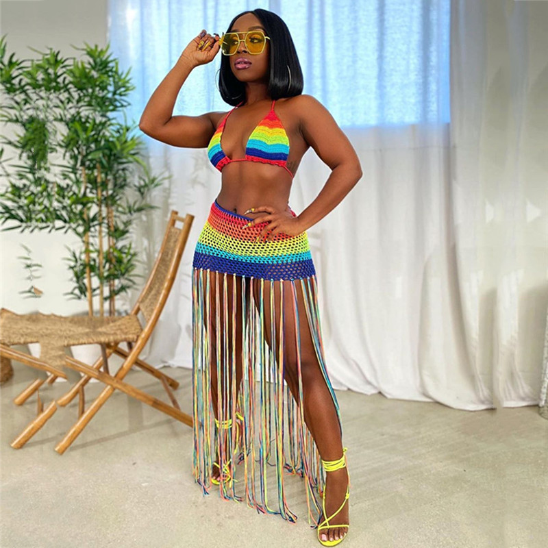 ANJAMANOR Rainbow Crochet Tassel Sexy 2 Piece Set Crop Top And Skirt Beach Party Club Birthday Outfits For Women D48-AC97