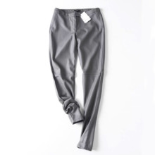 New 2019 Thicken On Foot Winter PU Leather Velvet Pants High Waist Slim Stretch Trousers Female Pencil Pants High Quality Pants