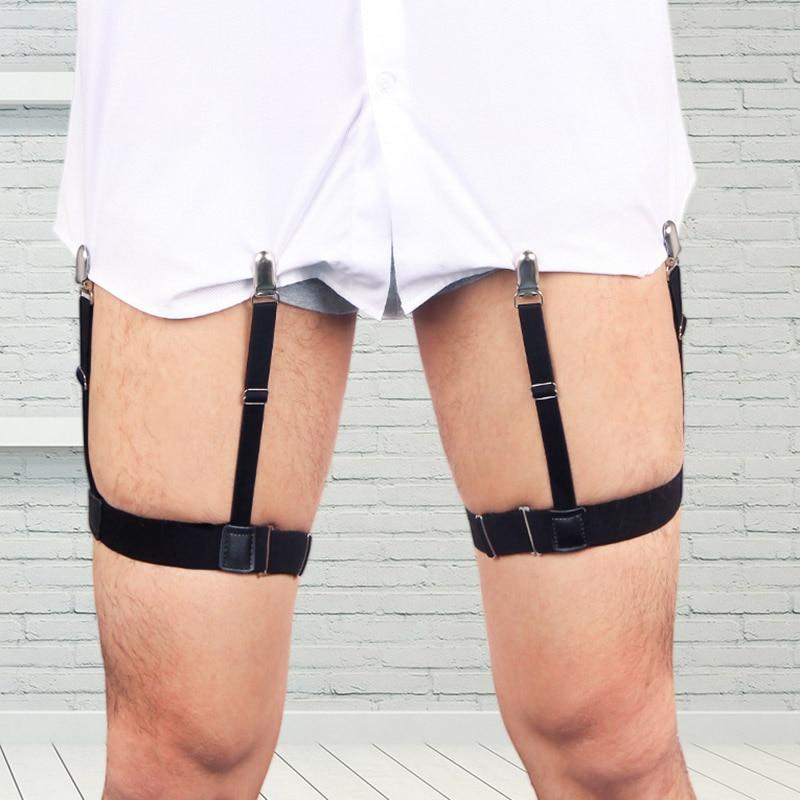 New 2 Pcs Men Shirt Stays Belt With Non-slip Locking Clips Keep Shirt Tucked Leg Thigh Suspender Garters Strap MV66