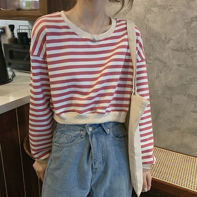 Фото женские футболки в стиле ретро полосатые топы с длинными рукавами цена