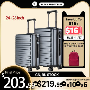 NINETYGO 90FUN 24 28 inch Set Carry On Luggage Spinner Lightweight Hardshell Suitcase with TSA Lock for Travel Business Black carry on lightweight 4 wheel spinner expandable upright suitcase