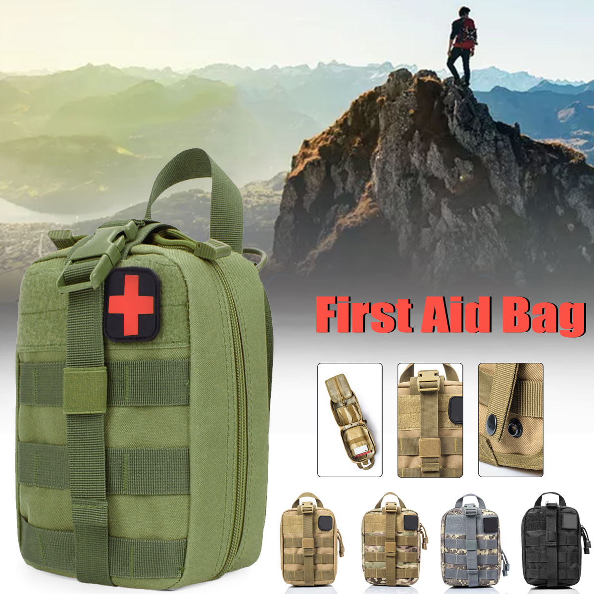Nylon Outdoor Tactical Medical Bag Travel First Aid Kit Multifunctional Pack Camping Climbing Bag Emergency Case Survival 600D