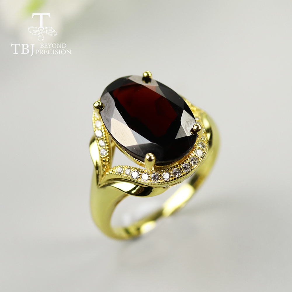 Natural Gemstone Jewelry Garnet-Ring 925-Sterling-Silver Black Oval for Mom Best-Gift