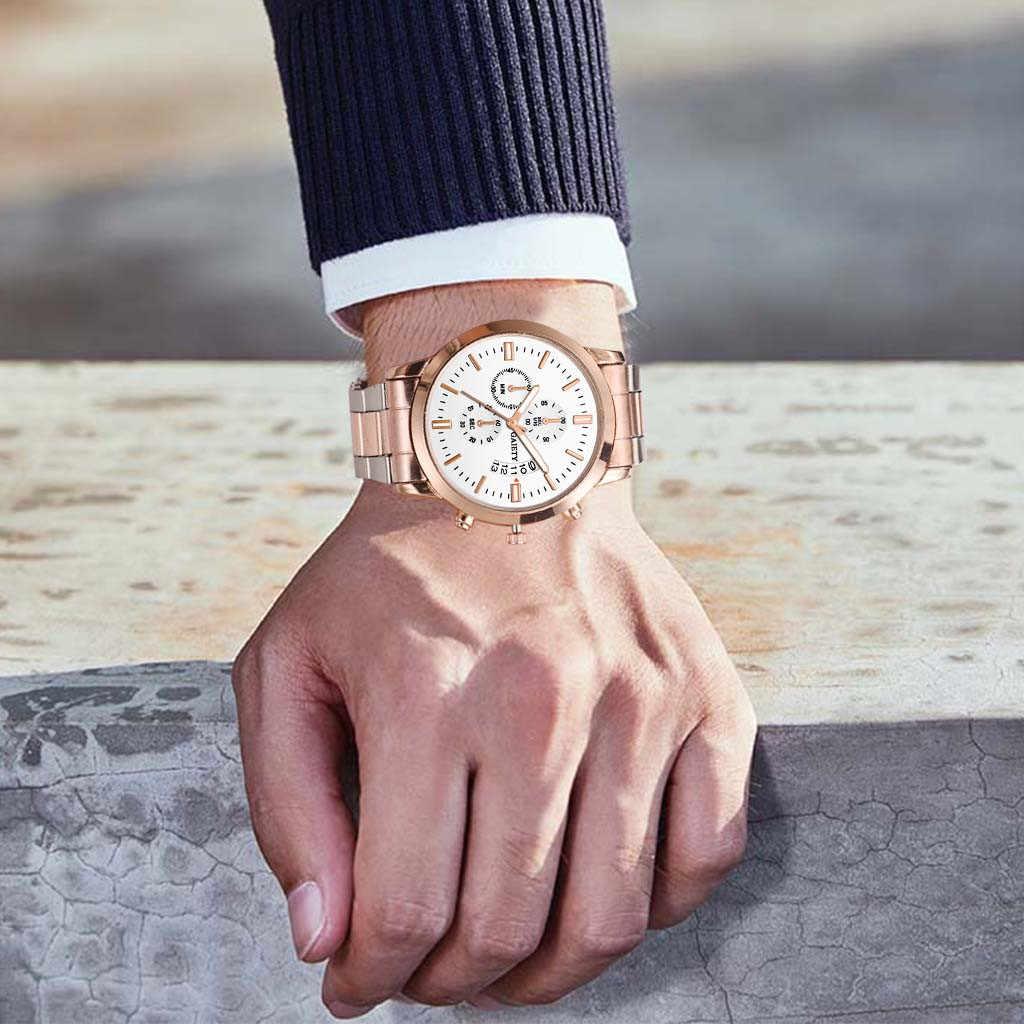 Nuevo reloj de lujo para hombre, reloj inteligente para mujer, calendario de acero inoxidable a la moda, reloj de cuarzo deportivo con múltiples agujas para hombre