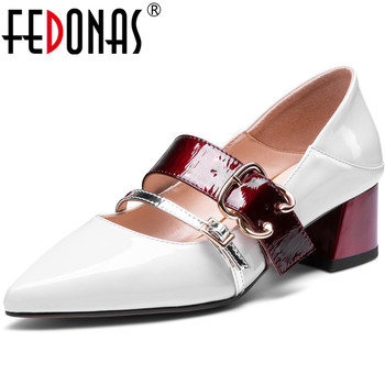 FEDONAS Slip On New Patent Leather Women Metal Decoration Party Point Toe Thick Heeled Elegant Spring Summer 2020 Shoes Woman