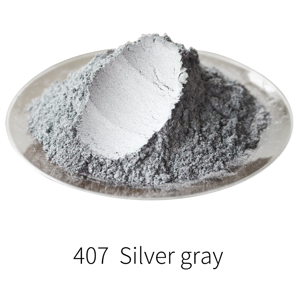 Pigment Pearl Powder Acrylic Paint Type 407 For Craft Art Automotive Paint Soap 50g Silver Grey Dye Colorant Mica Powder Pigment