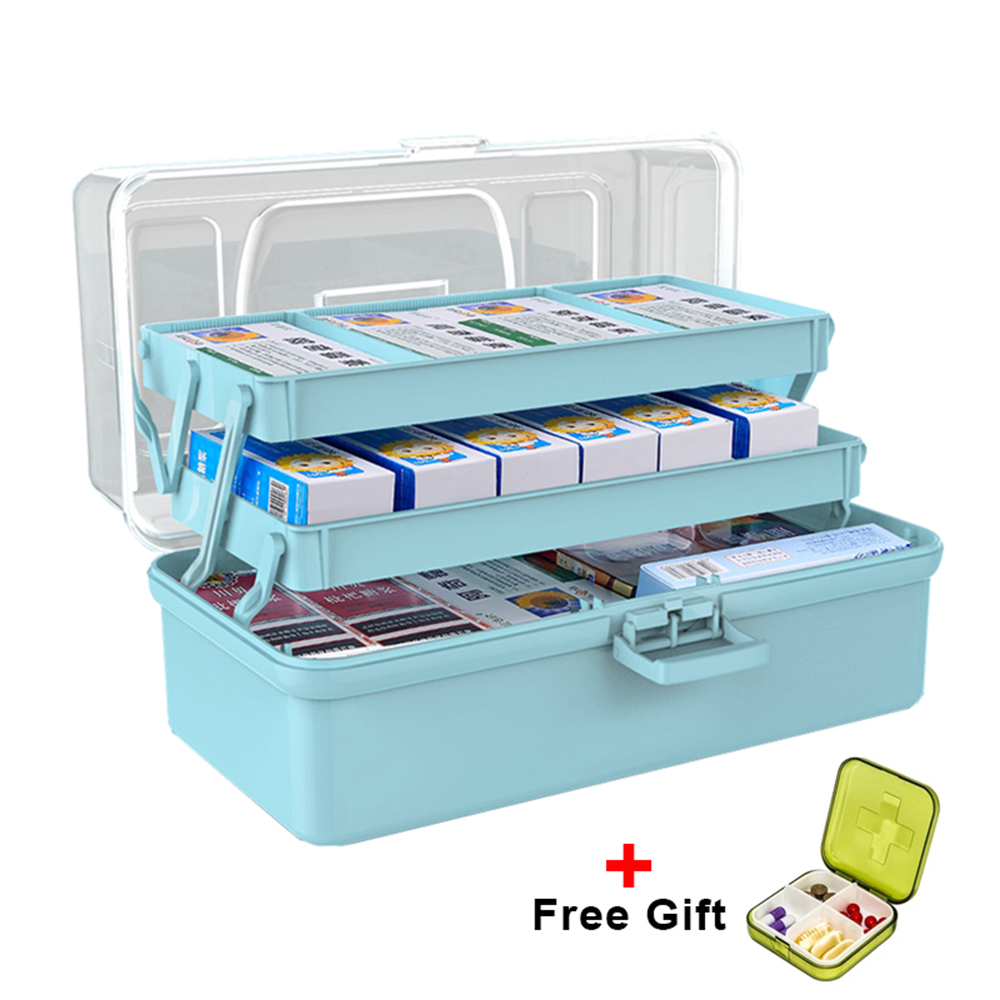 3 Tiers Medical Storage Box Multi-function Tools Organizer Box Transparent Cover First Aid Kit Portable Emergency Medical Kit