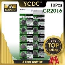 Литиевая Батарея CR2016 для часов 3 в, 10 шт., сменная батарея для часов BR2016 DL2016 LM2016 KCR2016 ECR2016, Литиевые кнопочные элементы для часов