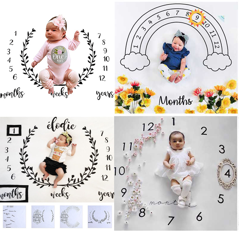 Cartoon Pattern Infant Baby Milestone Photo Props Background Blankets Play Mats Backdrop Cloth Calen