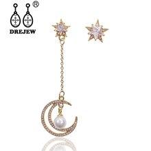 DREJEW Asymmetrical Gold Silver Rose Star Moon Statement Earrings Christmas 925 Long Tassel Alloy Drop for Women HE792