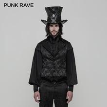 PUNK RAVE Gothic Gentleman Slim Button Men Jacquard Printing Vest Waistcoat Retro Triangle Collar Pocket Tops Party Tank Tees