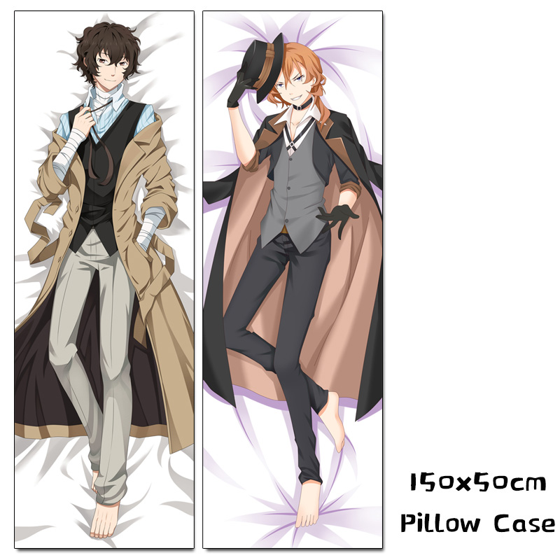 Anime Bungo Stray Dogs Dakimakura Nakajima Atsushi Osamu Dazai Hugging Body Pillow Case 150cm Cosplay Pillow Cover 150x50cm
