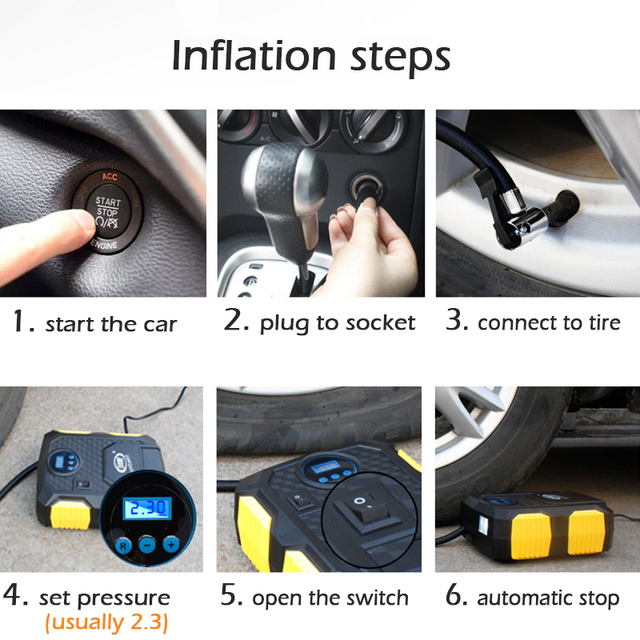 Pompe à Air numérique pour pneus de voiture, avec bouchon allume-cigare, compresseur pour véhicule, 120W, 150 PSI, 12V DC