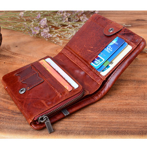 Image 4 - AETOO Handmade Works Of Art Wallet Retro Coin Purse Brush Color 100% Genuine Leather Wallet Men Bag The best gift