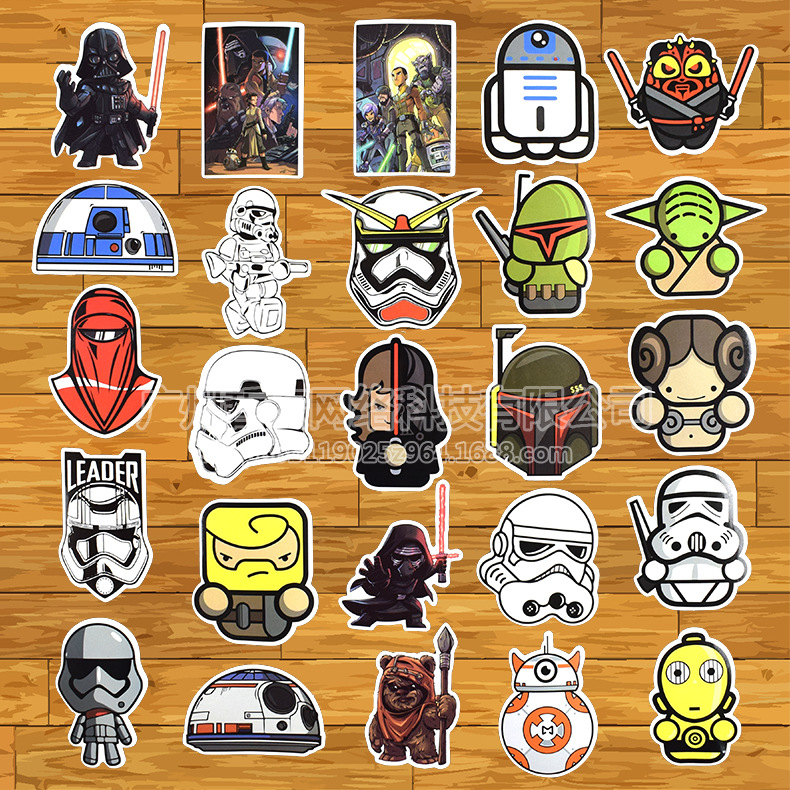 100 Pcs lot Cool Styling Star Wars Stickers for Car Laptop Skateboard Bicycle Luggage Pvc Waterproof Decal Sticker in Stickers from Toys Hobbies