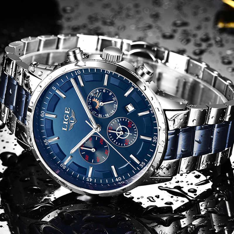 2019 nouvelles montres hommes LIGE haut marque analogique Quartz horloge en acier inoxydable étanche lumineux Sport montre hommes Relogio Masculino