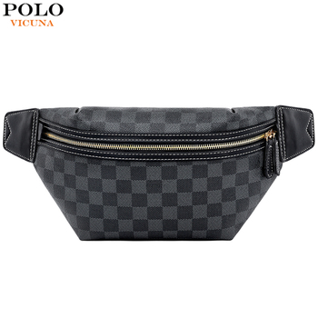 VICUNA POLO Mens Waist Pack Classic Brand Plaid Design Travel Crossbody Chest Bag For Male Side Shoulder