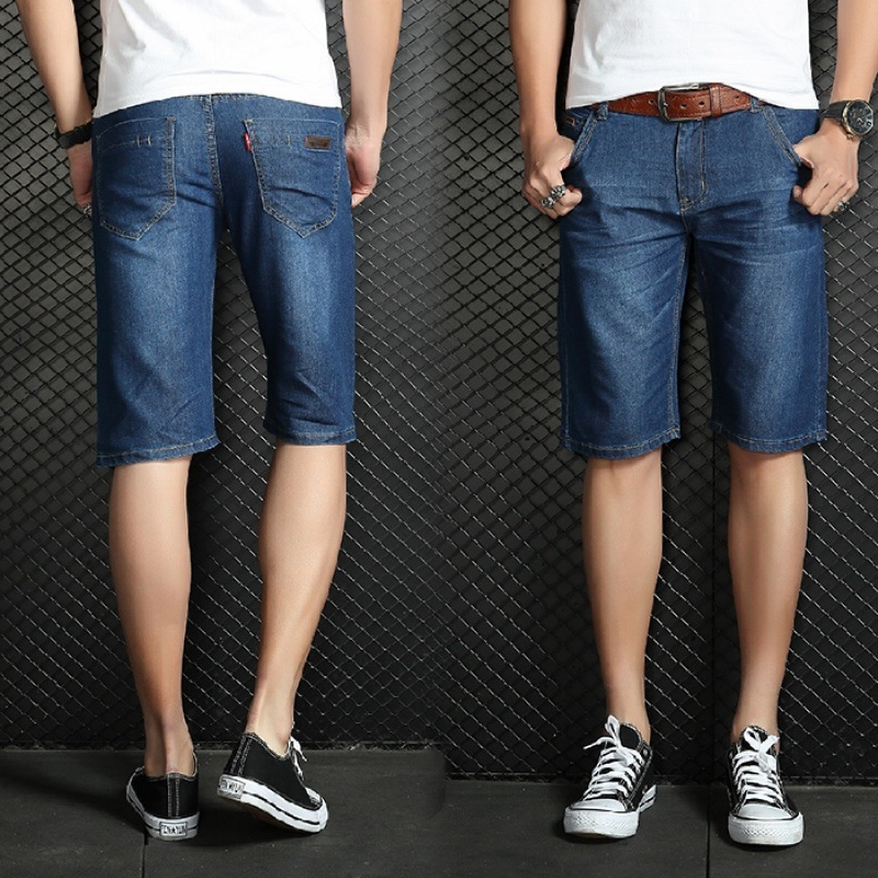 8018-Denim Shorts Men Summer Thin Section Shorts Straight-Cut Large Size Pants