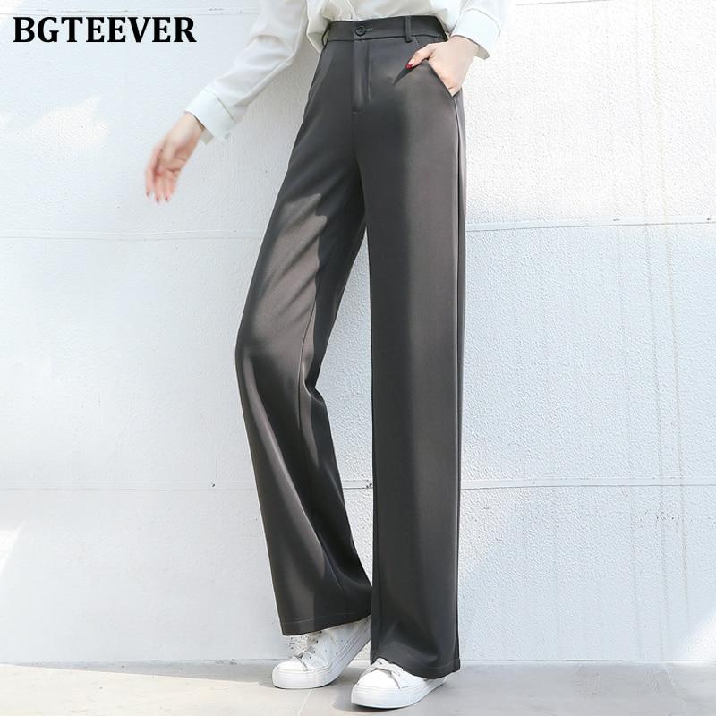 BGTEEVER Casual Loose Suit Pants Female Trouser High Waist Office Ladies Straight Women Long Pants Capris femme 2020
