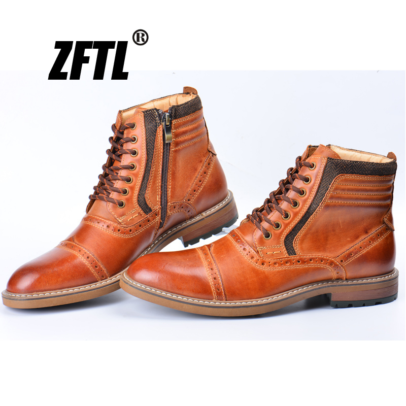 ZFTL New Men Martins Boots Genuine Leather Big Size Handmade Man Winter Warm Men Bullock Casual Lace-up Men's Ankle Boots  046