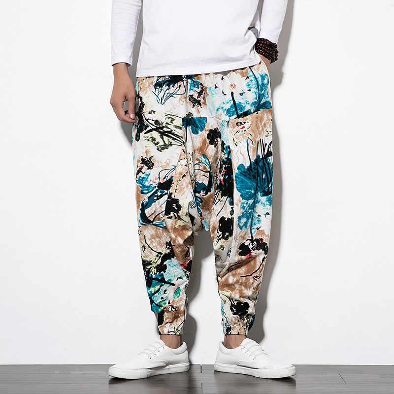Pantalones bombachos holgados de algodón con bolsillo para hombres, pantalones bombachos de Hip-hop, pantalones de pierna ancha, pantalones casuales Vintage para hombres, pantalones Aladdín