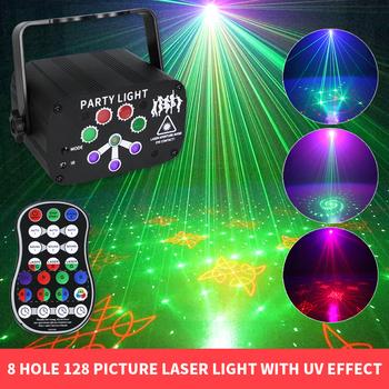 8 otworów 128 wzorów Laser LED lampka nocna kolorowe efekt UV światła dj-skie USB Rechargable migające światła na imprezę dekoracje weselne tanie i dobre opinie GRN-FLASHING Rohs CN (pochodzenie) Efekt oświetlenia scenicznego Oświetlenie sceniczne DMX 128 Patterns Stage Lights Domowa rozrywka