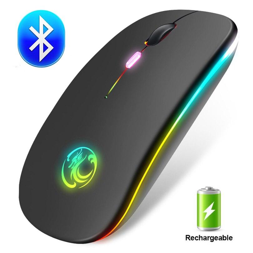 Беспроводной Мышь RGB Bluetooth Мышь Беспроводной компьютер Мышь геймер бесшумный USB мышь Эргономичный мыши Перезаряжаемые для портативных ПК