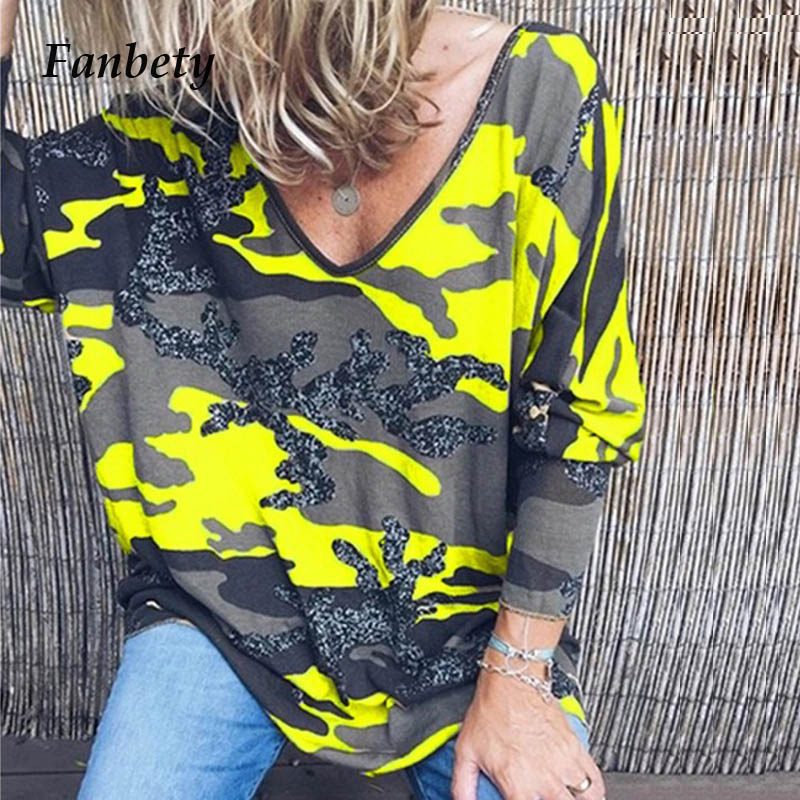 Fanbety Women Cotton Camouflage Print Blouse Shirt Lady Autumn Sexy V-neck Long Sleeve Blusa Elegant Loose Basic Pullover Tops