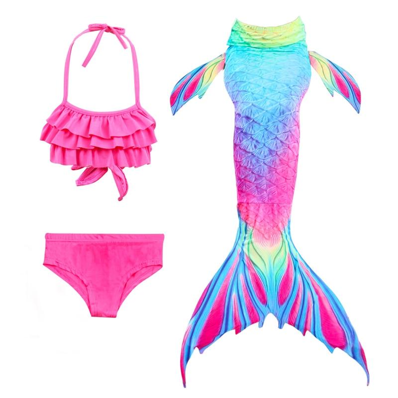 Girls Sea-Maid Tail Swimwear Beach Swimming Suit Children Swimming Costumes VGEBY1 3Pcs Kids Mermaid Suit