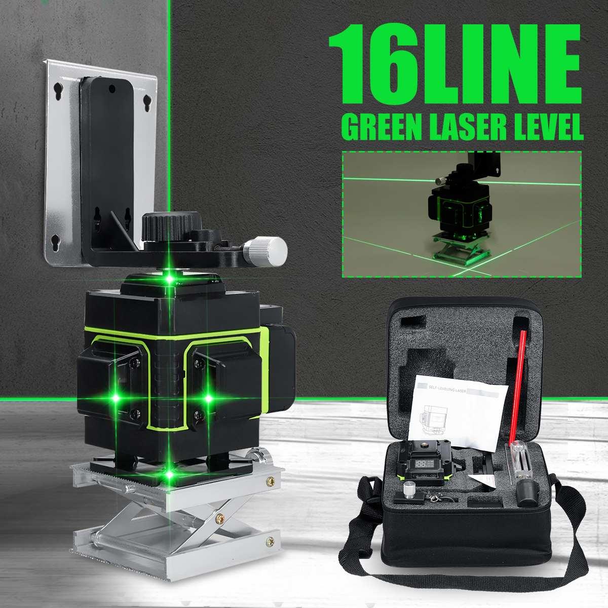 Лазерный уровень 16 линий 3D самонивелирующийся 360 горизонтальный и вертикальный крест супер мощный зеленый лазерный луч линии измерительны...